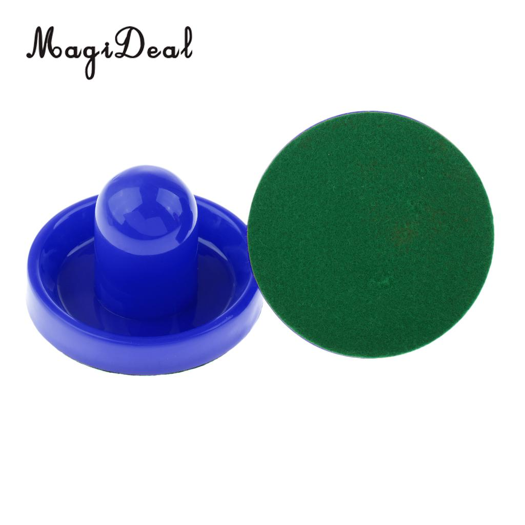 MagiDeal 2 Pieces 95mm Air Hockey Felt Pushers Goalie Handles Paddles Replacement Large Blue