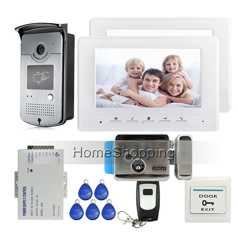 "Free Shipping Brand New 7"" Color Screen Video Intercom Door Phone Kit 2 Monitors + Night Vison RFID Reader Door Camera + E-Lock(China (Mainland))"