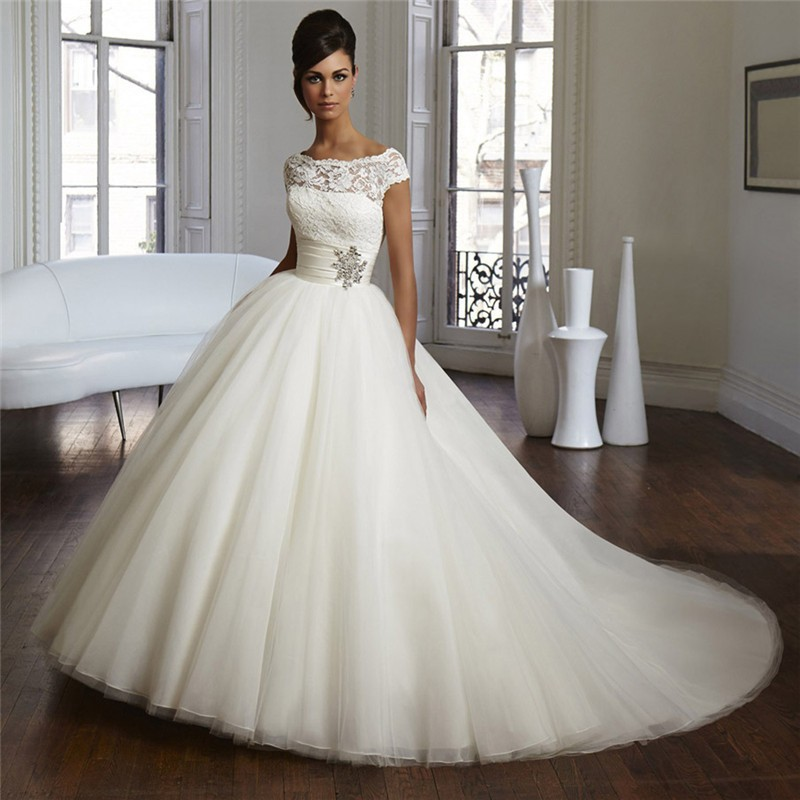 Couture Wedding Dresses Brigg : Couture ball gown elegant wedding dress lace tulle plus size bridal
