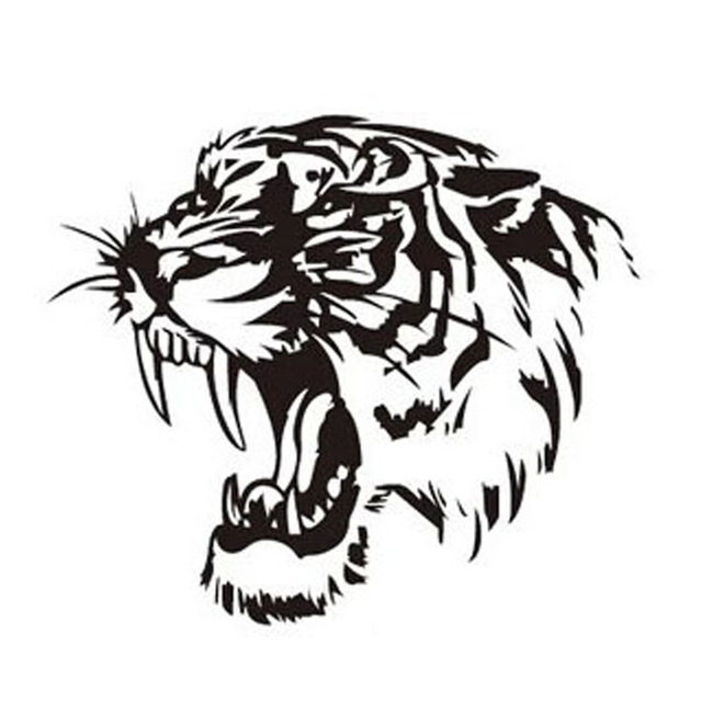Car Styling Reflective and Creative Personality Cool Animal Tiger Body Car Stickers 28*28CM N7264(China (Mainland))