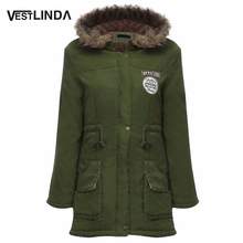 VESTLINDA Big Size Fur Hooded Inside Down Coat Army Green Drawstring Type Women Snow Coat 2016 Winter Warm Female Coats Parkas(China (Mainland))