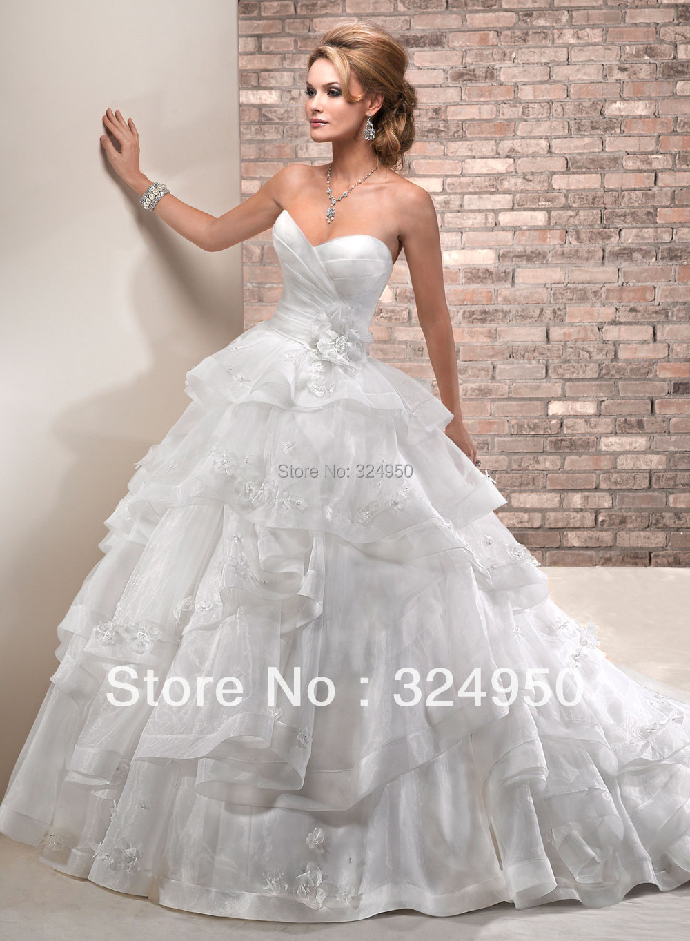 2014 newest style a line strapless chapel train satin for A line style wedding dresses