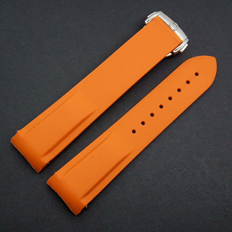 Black Orange Brand watchband rubber silicone strap Silver deployment stylish curved end Replacement Bracelets men 20mm 22mm - New Store of Chinese Accessories store