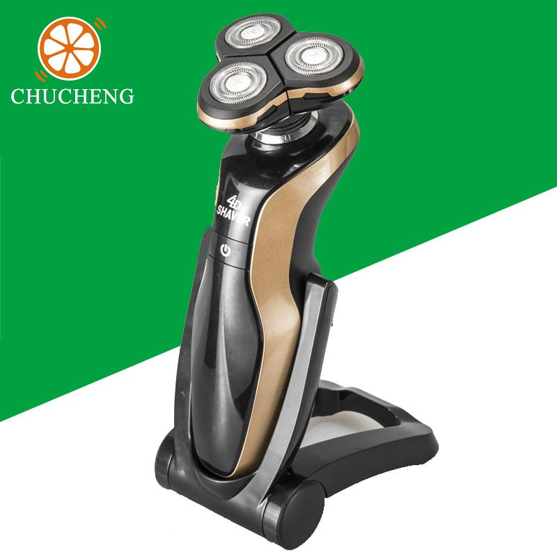 Chu Cheng Ergonomic Blade Beard Shaving Machine, Mens 4D Waterproof Rechargeable Beard Electric Razor For Men Electric Shaver(China (Mainland))