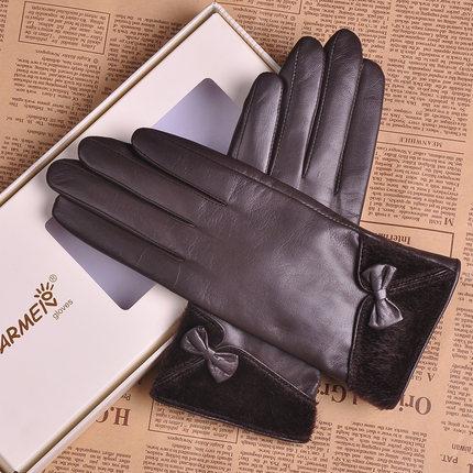 Top quality Goat skin genuine leather gloves women wrist fur bowknots winter sheepskin gloves velvet lining L151NC(China (Mainland))