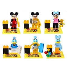 New Arrival 6pcs/lot Kids Anime Minifigures Mouse Duck Building Blocks Action Figure Toys Wholesale
