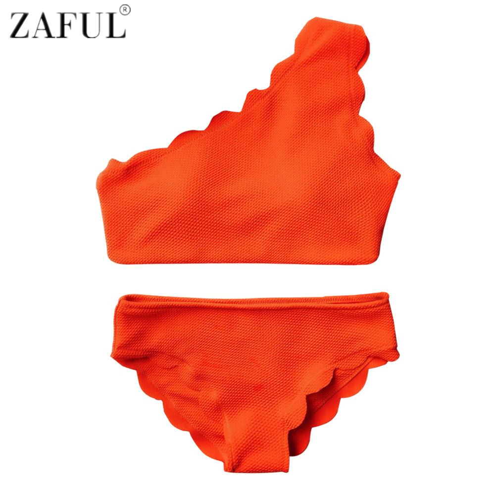 ZAFUL New Style One Shoulder Design Scalloped Bikinis Women Wave Edge Swimwear Swimsuit Biquinis Bathing Suits maillot de bain(China (Mainland))