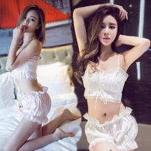 New Sexy Summer Cotton Women's Print Lace Two Pieces Sleeveless Pajama Set Princess Sleepwear Homewear Lady Lingerie Set M L Xl