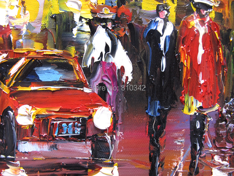 Buy Palette knife oil painting Modern handmade oil on canvas New York Time Square paintings for wall decoration cheap