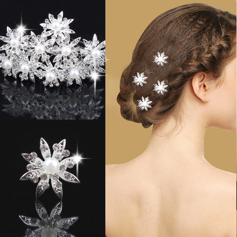 12pcs/lot Charming Bridal Faux Pearl hair accessories Crystal White Flower wedding Hair Pin Pearl Clips Jewelry For Women(China (Mainland))