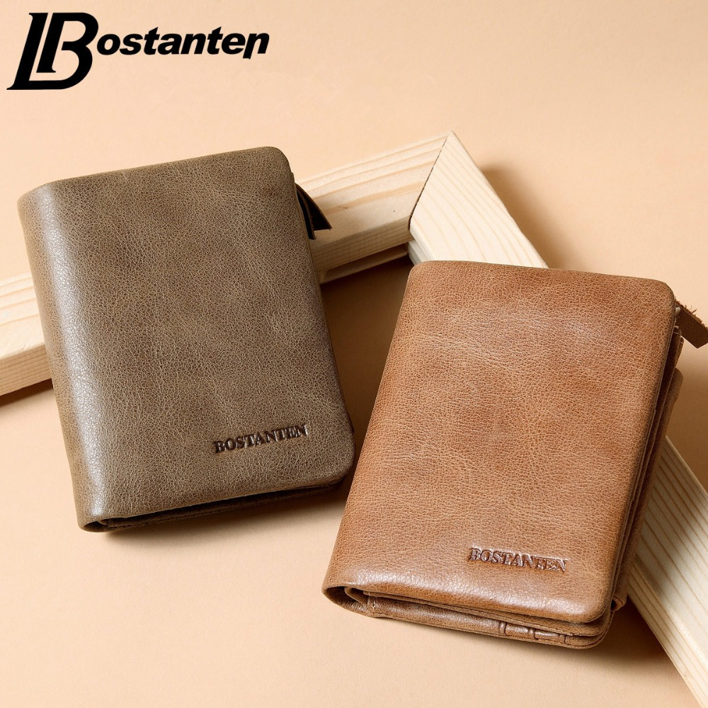 Bostanten Retro Short Men Wallets Famous Brand Genuine Leather Wallet Small Fashion Hasp Coin Purse Card Holder For Men Carteira(China (Mainland))