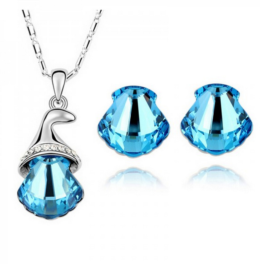 Fashion New Blue Red White Crystal Jewelry Sets Women's Necklace Earrings Wedding Bridal