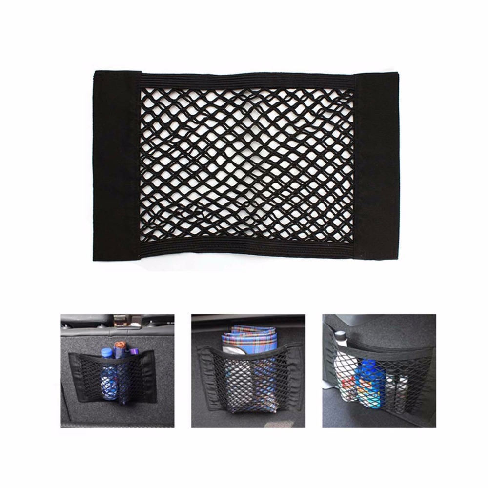 Automobile Rear Trunk Storage Cargo Velcro Sticker Mesh Black Elasticity Net Bag 40*25CM Trunk Organizer(China (Mainland))