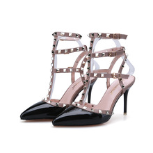 Europe Spring Summer New Sexy Pumps T Strap High Heels Shoes for Women Fashion Sandals Thin Heels Rivets Heeled Shoes G1731-2