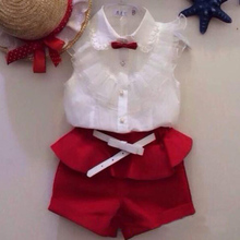 2015 Summer fashion Girl lace white blouses+ red shorts clothing set kids clothes sets twinset(China (Mainland))