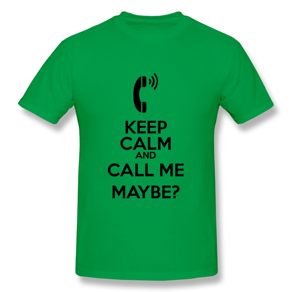 Screw Neck Cotton Keep Calm and Call Me Maybe Plus Size T Shirts For Men's 2015 Newest men 3D t-shirt Cheap Price(China (Mainland))
