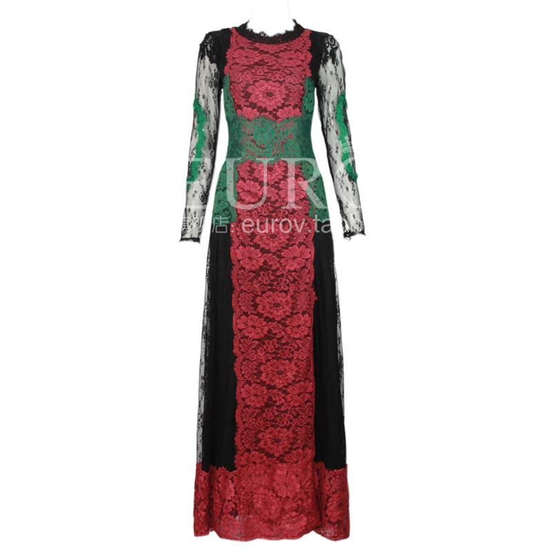 2014 luxury brand runway women's lace flower perspective gauze long-sleeve floor length evening long maxi dress - Fair Lady Fashion Collections Store store