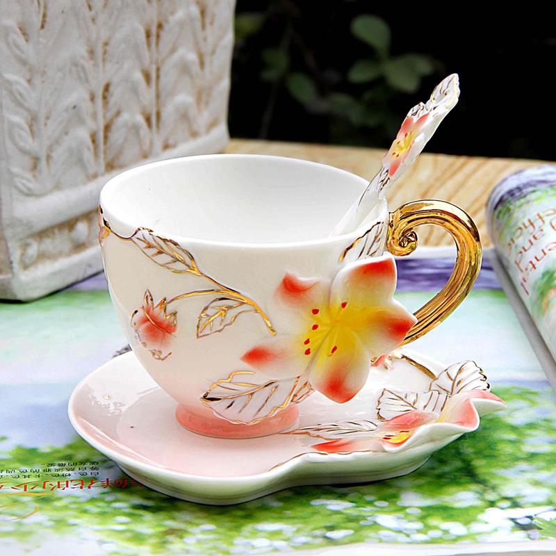 Bone Ceramic Enamel Cup Coffee Cup Saucer Spoon Apple