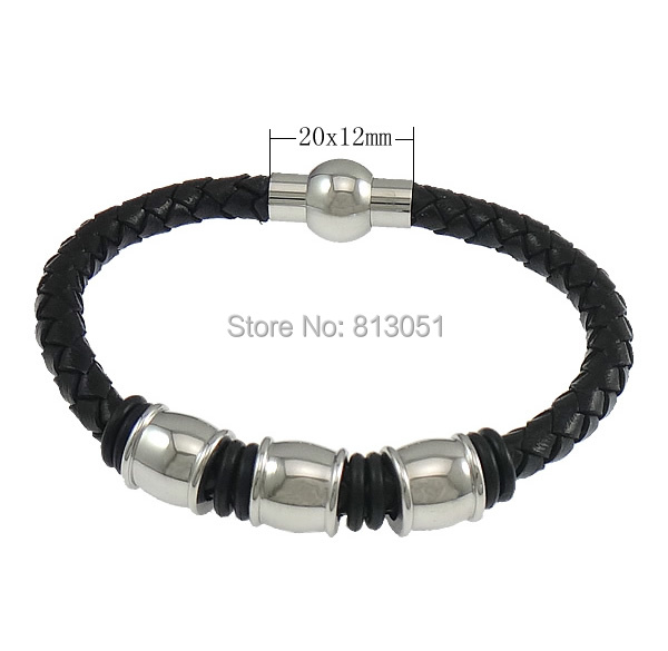 Free shipping!!!Cowhide Bracelet,2014 Fashion Jewelry, with Silicone, stainless steel magnetic clasp, platinum color plated