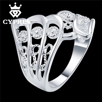 2016 CYPRIS Hot silver Ring Flower women men Party Wholesale Price feather hollow animal plant wedding lover's Valentines Day