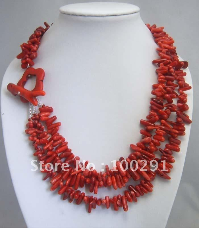 Anniversary, Engagement, Gift, Party, Wedding Coral Jewelry Fashion Strand Chip Red Natural Coral Necklace(China (Mainland))