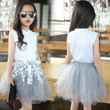 Girls Clothing Sets Summer Lace Fashion Style Baby Clothes For Girls T-Shirt + Skirts 2Pcs Kids Flower Cupcake Cute Skirt(China (Mainland))