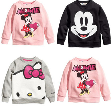 Hot Sale Kids cartoon boys and girls long-sleeved t-shirt casual clothing gray kitty pink black free shipping available(China (Mainland))