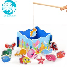 Wooden magnetic fishing toys  children's educational  wooden toys, preschool fun games(China (Mainland))