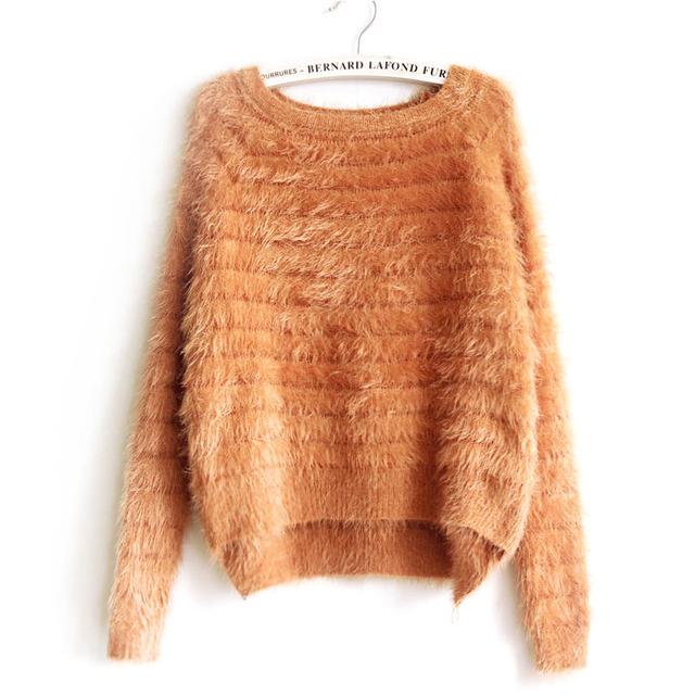 Зима теплая модный свитер женщин мохер джерси пуловер рождество одежда для женской ...
