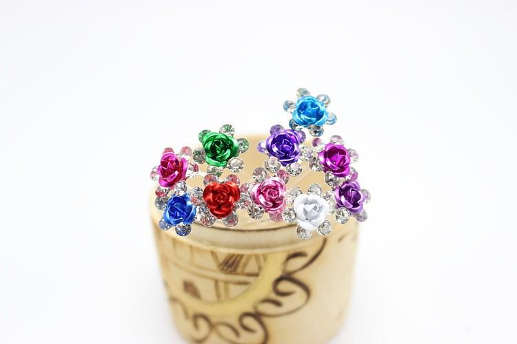 20pcs Rose shaped Women wedding hair accessories Crystal Flower Hair Jewelry Rhinestone Hair Clips Pins Accessories H-6+1