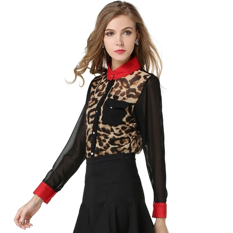 2016 Best Goods Women New Chiffon Fashion Leopard Blouse Long-sleeve Perspective Shirts Stand Collar Simple Classical Slim Thin(China (Mainland))