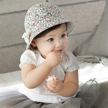 Baby Girls Infant Floral Bowknot Beach Outdoor Two-side Use Hat Cap 4M-2Y