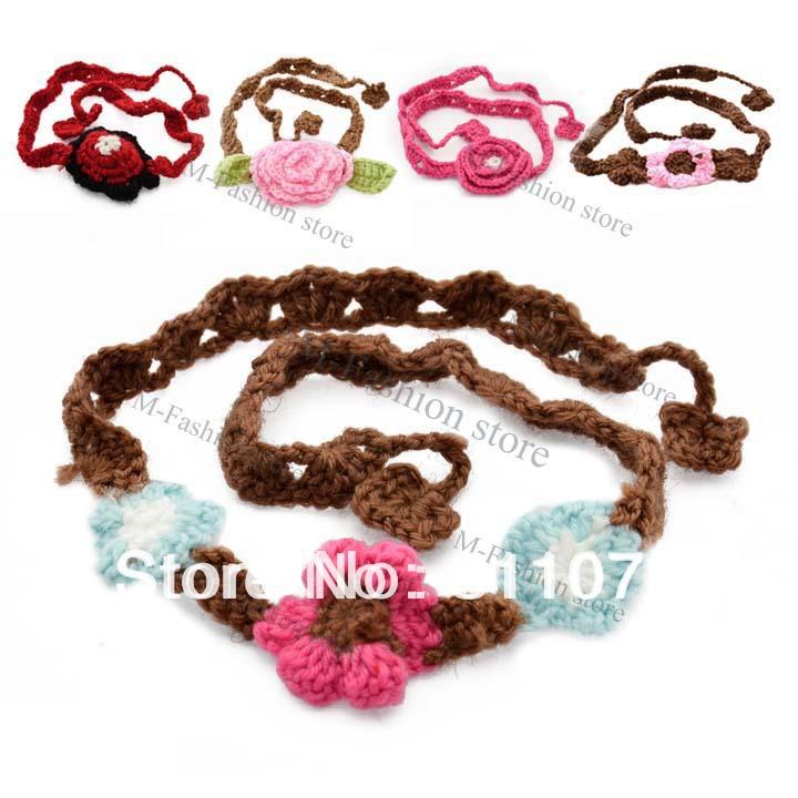 Cute princess hair accessories Handmade Knitting crochet Baby Infant Flower Headband hair Band Scarf Headwear Head Wear 17102(China (Mainland))