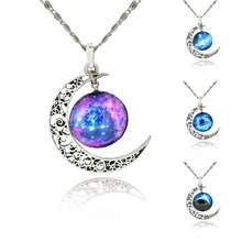 Alloy Hollow Moon & Glass Galaxy Pendants Silver Chain Statement Necklaces 2016 New Fashion Jewelry Charms Friend Best Gifts(China (Mainland))