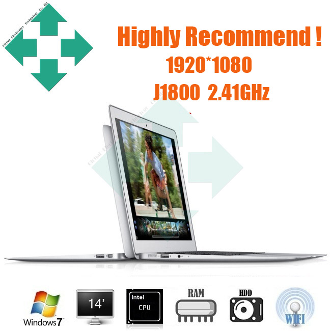 New 14 inch notebook computer Ultrabook laptop PC Highest resolution 1920*1080 Windows8.1 Intel J1800 2.41GHz(China (Mainland))