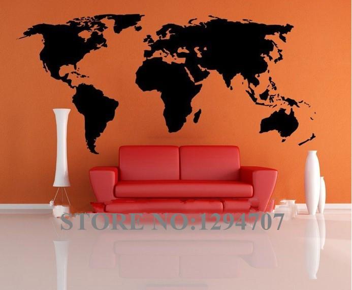 Free shipping HOT 1 PCSHUGE 200x90cm CCR1103 Big Global World Map Atlas Vinyl Wall Art Decal Sticker(China (Mainland))