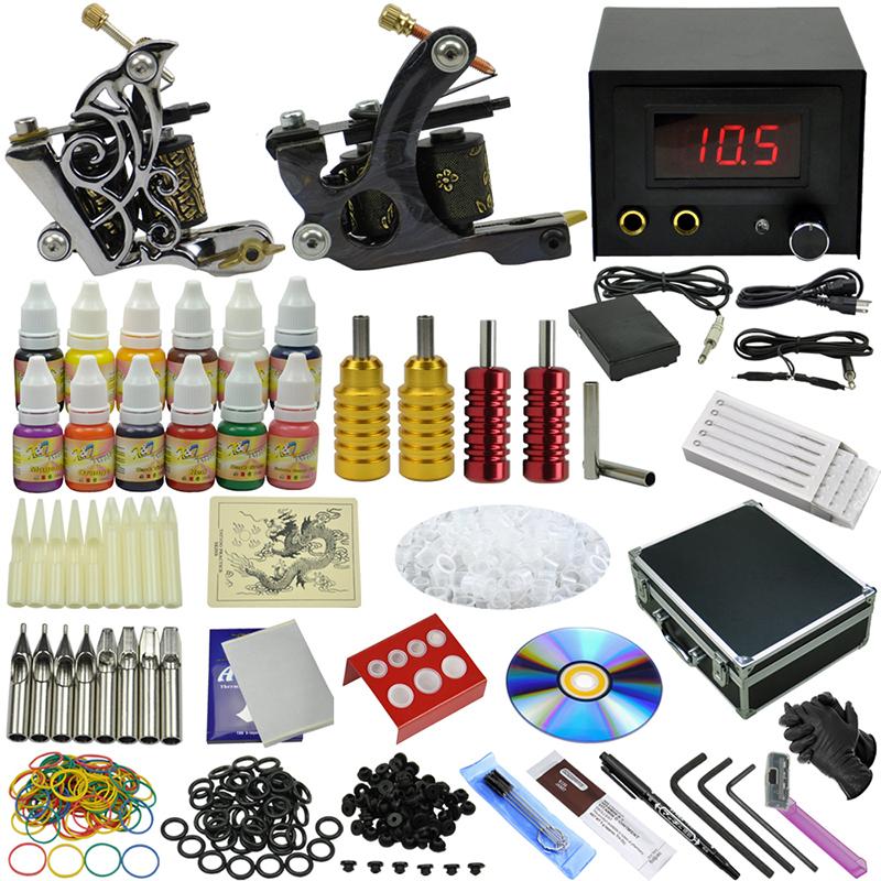 OPHIR 355pcs/set Complete 2 Tattoo Machine Guns 12 Color Tattoo Inks Pigment Grip Needle & Nozzle Body Art Set #TA075