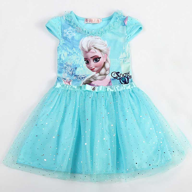 Girl Dress Summer Brand Toddler Girls Clothes Lace Sequins Princess Anna Elsa Dress Snow Queen Halloween Party Role-play Costume(China (Mainland))