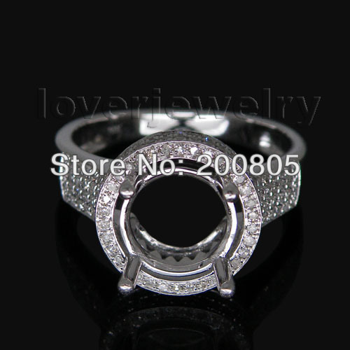 Jewelry Sets Vintage Round 8.5mm 14kt White Gold Natural Diamond Semi mount Ring WU085<br><br>Aliexpress