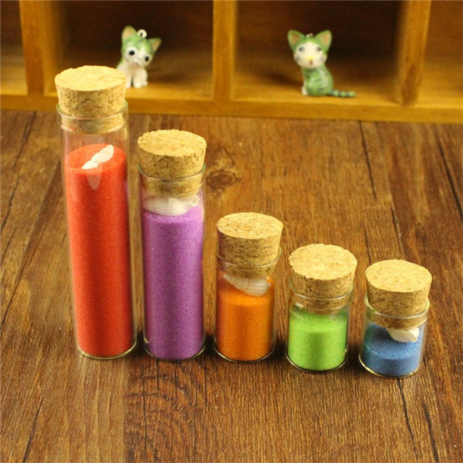 5ml Mini Glass Vials Jars Packaging Bottles Test Tube With Cork Stopper Empty Glass Transparent Clear Bottle