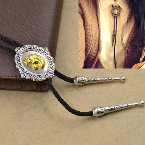 1 Pc Horse Head Leather Rope Dance Rodeo Western Cowboy Bola Bolo Tie Necklace