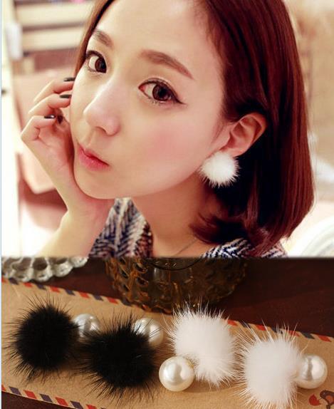 2015 New Arrival Women Sweet Minks Hair Bulb Pearl Earrings Stud Earrings(China (Mainland))