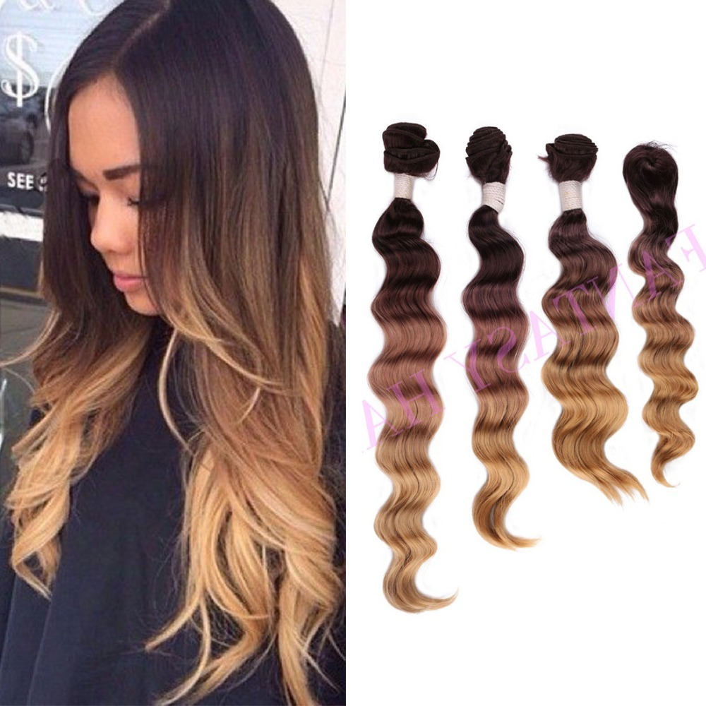 light brown long ombre brazilian loose wave weave with closure ombre synthetic hair extensions synthetic bundles weave for woman(China (Mainland))