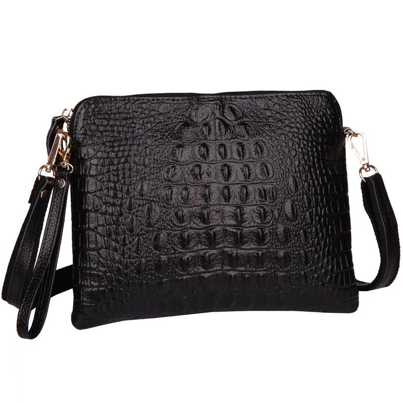 2015 Genuine Leather Women Messenger Bags Fashion Crossbody Shoulder Bags Alligator Crocodile Pattern Ladies Envelope Clutch(China (Mainland))