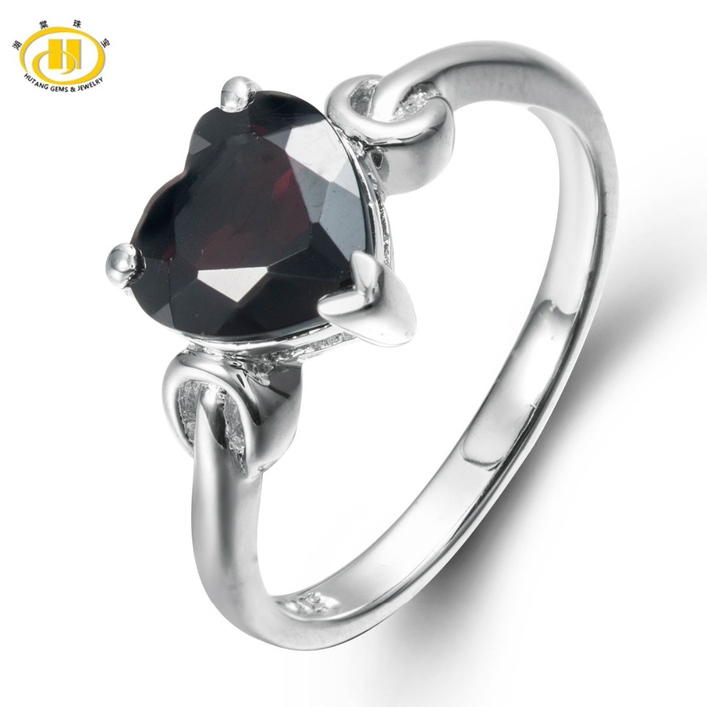 Hutang Mystery Natural Black Garnet Solid 925 Sterling Silver Ring Heart 8mm Gemstone Womens Fine Jewelry(China (Mainland))