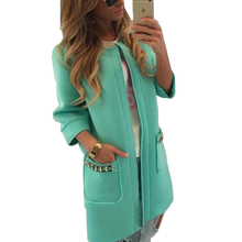 2015 New Arrive Trench Solid Candy Color Vacuum Cotton Women Coat With Three Quarter Sleeve Casual Hoodies The Female Cardigan(China (Mainland))