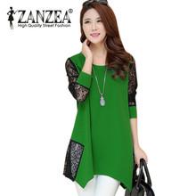 Zanzea New 2016 Women Fashion Loose Sexy Lace Patchwork Long Sleeve Hollow Out Dress Tops Casual O-neck Soft Dress Plus Size(China (Mainland))