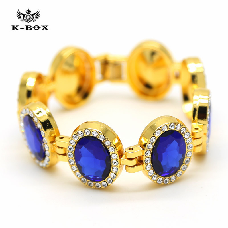 "Men's Gold Plated Iced Out 8 pcs Oval Cut Blue Sapphire Bracelet CZ Cubic Zirconia Tennis Bling Bling Bracelet 7.9"" x 22mm,105g(China (Mainland))"