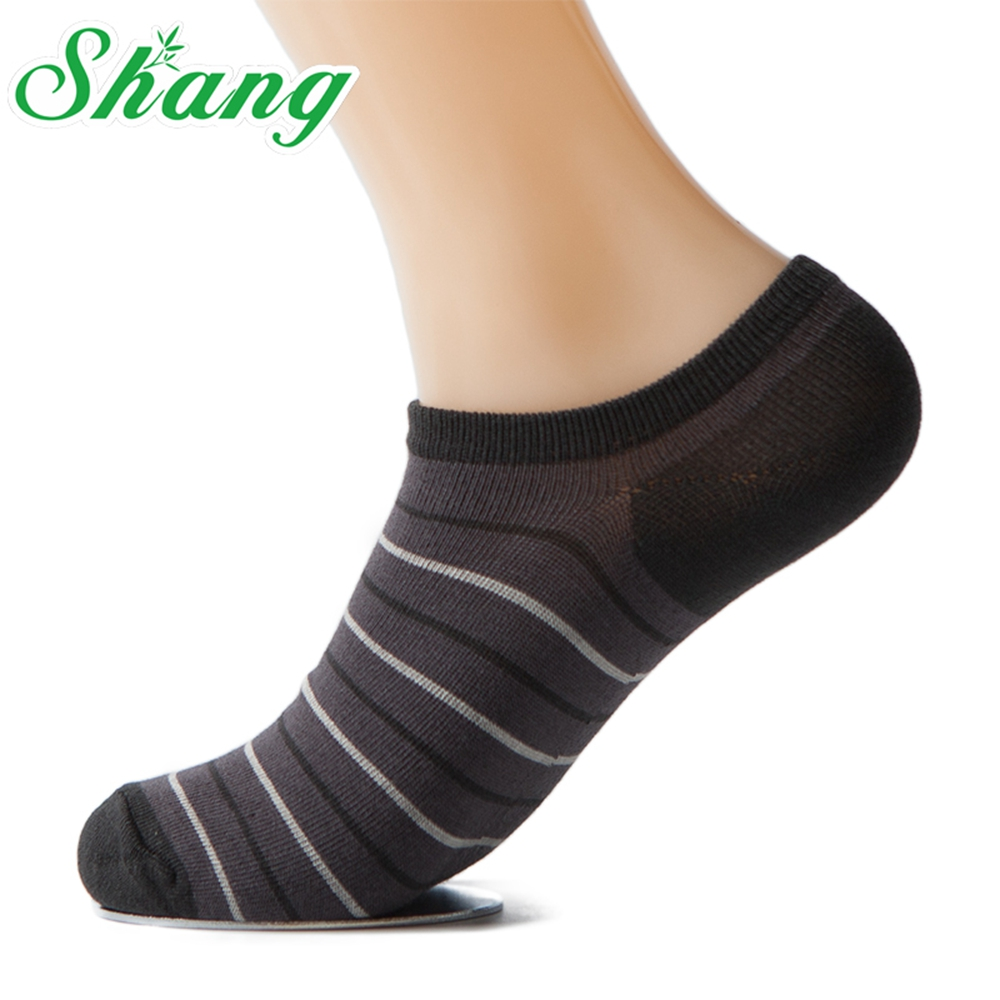 Shang brand men socks Bamboo Fiber Sock Slippers breathable sport socks Stripe Male socks Size 39-44 5pairs/lot LQ-7(China (Mainland))