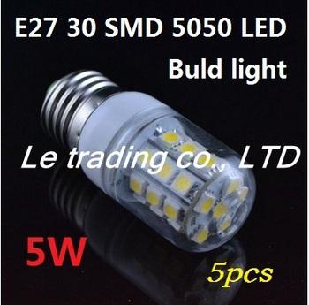 5PCS 5W E27 5050 SMD 220V Warm White LED Spot Light Bulb Lamp Free Shipping